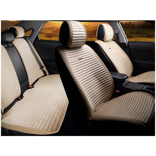 Комплект накидок на автомобильные сиденья CarFashion MONACO PLUS бежевый/бежевый/бежевый/бежевый