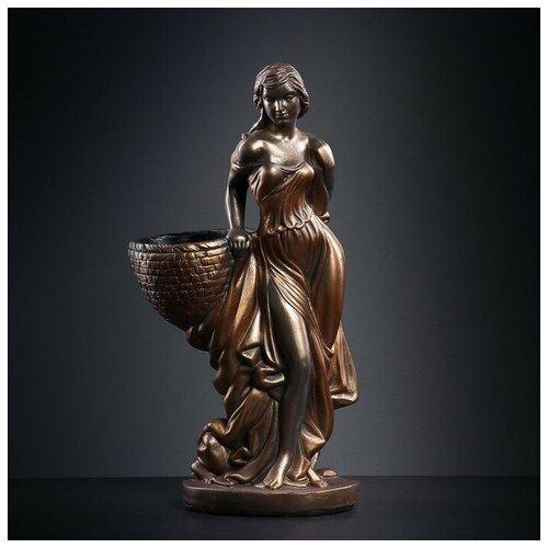 Фигура с кашпо Девушка с корзиной бронза 64см фигура девушка сидя кашпо на плече бронза 58см 302969