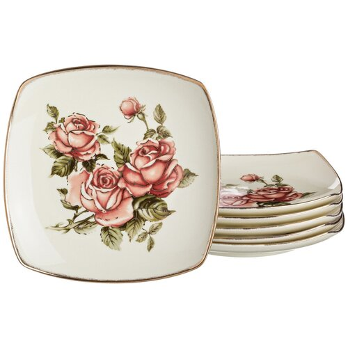 Набор тарелок Lefard корейская роза из 6 шт. 22*22 см (215-143) недорого