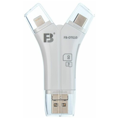 Фото - Кардридер FB OTG10 для устройств USB-A, MicroUSB, Type-C, Apple Lightning - SD, TF карт ридер earldom et ot31 lightning microusb type c microsd sd