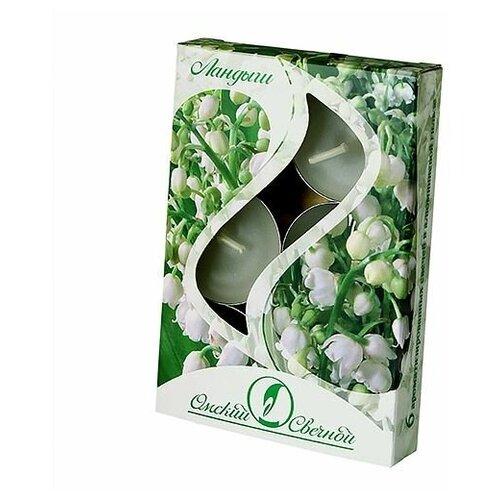 Набор ароматических свечей ландыш, 3.8х1.6 см (упаковка 6 шт.), Омский Свечной 001804-свеча