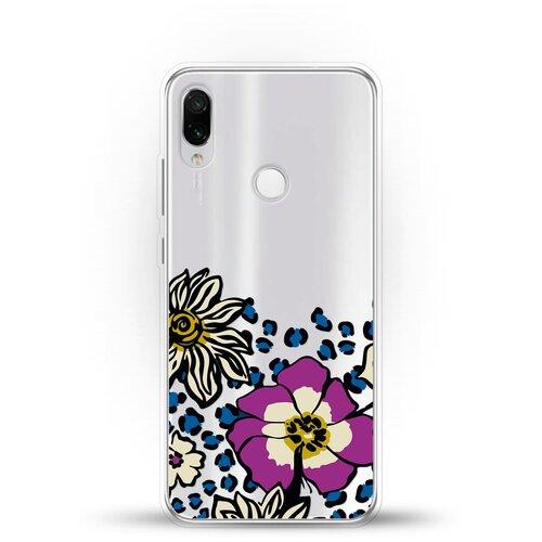 Фото - Силиконовый чехол Цветы с узором на Xiaomi Redmi Note 7 ультратонкий силиконовый чехол накладка для xiaomi redmi 7 с принтом нежные цветы