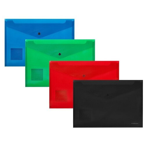 Папка-конверт на кнопке пластиковая ErichKrause® Fizzy Classic, непрозрачная, А4, ассорти (в пакете по 12 шт.) недорого