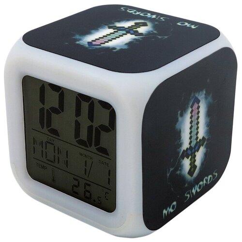 Часы-будильник Minecraft: Пиксельный меч (с подсветкой)