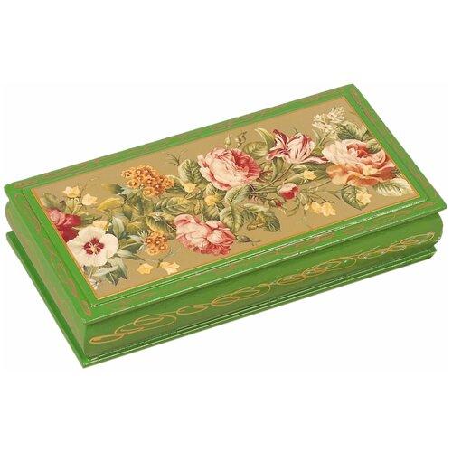 Шкатулка - купюрница «Узор из цветов», 8,5×17 см, зелёная, лаковая миниатюра 3579600 по цене 492