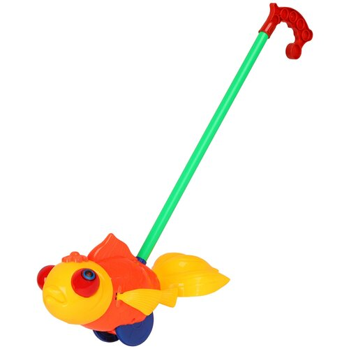 Купить Каталка детская Золотая рыбка , игрушка развивающая для малышей, каталка на палочке, игрушка с палочкой, в/п 27х9х11см, Play Smart, Каталки и качалки