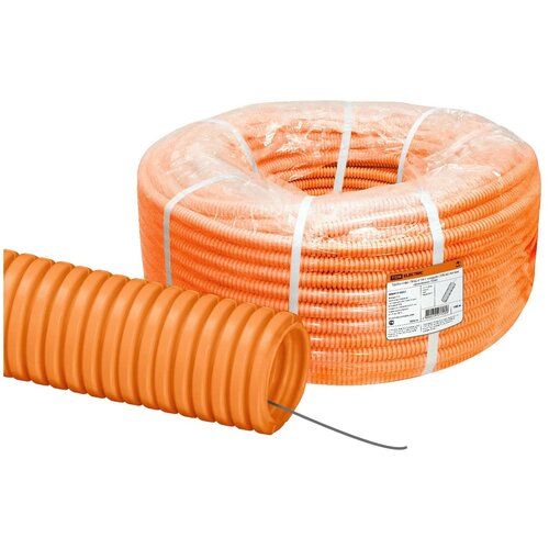 Труба гофрированная ПНД d 16 с зондом (100 м) легкая оранжевая TDM труба гофрированная пнд d 40 с зондом 25 м легкая оранжевая tdm