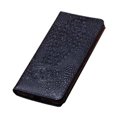 Чехол-книжка MyPads для Honor 9X (STK-LX1)/ Huawei Honor 9X Premium / Honor 9X (Russia)с фактурной прошивкой рельефа кожи крокодила из натуральной кожи черный