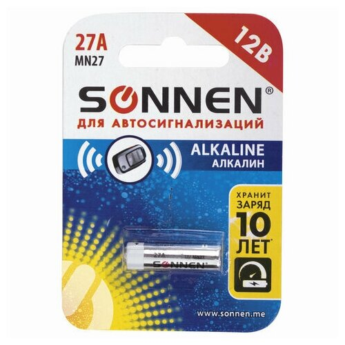 Фото - Батарейка SONNEN Alkaline, 27А (MN27), алкалиновая, для сигнализаций, 1 шт., в блистере, 451976 батарейка gp alkaline 192 g3 lr41 алкалиновая 1 шт в блистере отрывной блок 192 2cy 4891199015533