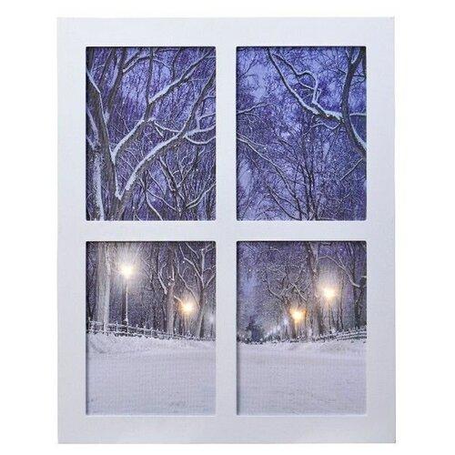 Светящееся панно аллея за окном, тёплые/холодные белые LED-огни с эффектом мерцания, 38х48 см, Kaemingk 485494-аллея