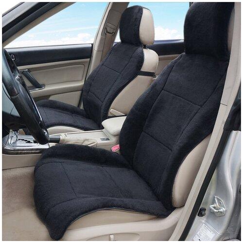 Накидки на автомобильные сиденья AutoWool - 2 шт. Овечья шерсть - 70 %. Чёрные.