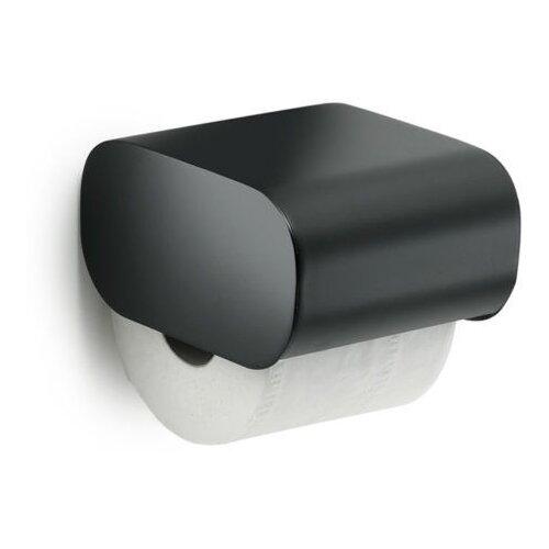 Бумагодержатель Gedy Outline с крышкой, черный матовый