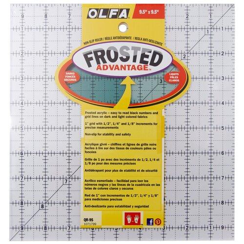 Линейка для пэчворка Frosted, градация в дюймах, квадрат 9 х 9 Olfa QR-9S