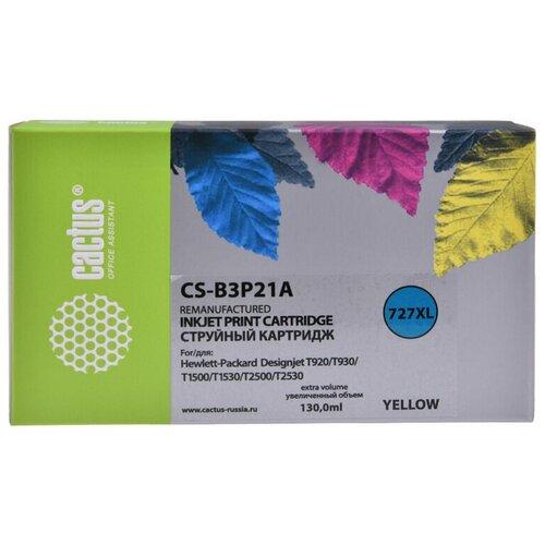 Фото - Картридж струйный Cactus №727 CS-B3P21A желтый (130мл) для HP DJ T920/T1500/T2530 картридж струйный cactus 727 cs b3p20a пурпурный 130мл для hp dj t920 t1500 t2530