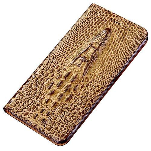 Чехол-книжка MyPads Premium для LG G Flex 2 (H959) 3D из натуральной кожи с объемным 3D рельефом головы кожи крокодила роскошный эксклюзивный светло-коричневый