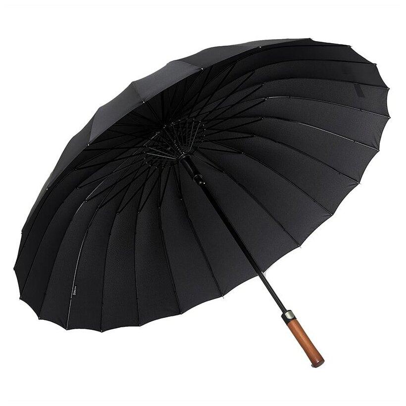 Большой семейный Зонт трость 24 спицы диаметр купола 120 см черный полуавтомат, прямая деревянная ручка — купить по выгодной цене на Яндекс.Маркете