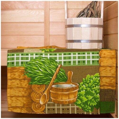 Вафельное полотенце Банька, 80х150, Арт Дизайн