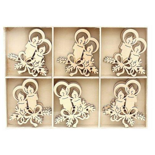 Набор украшений для рождественской горки нарядные свечи, дерево, 8 см (упаковка 6 шт.), Sigro