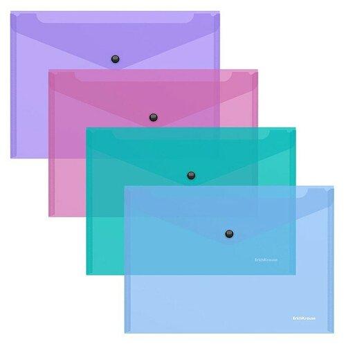 Папка-конверт на кнопке пластиковая Glossy Vivid, полупрозрачная, B5, ассорти недорого