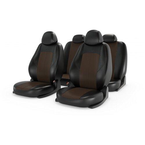 Комплект универсальных чехлов на автомобильные сиденья CarFashion RANGER LEATHER черный/коричневый/коричневый