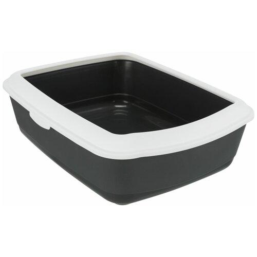 Фото - Туалет Classic с бортиком, 37 х 15 х 47 см, темно серый/белый, Trixie (лоток для животных, 40184) туалет trixie с бортиком для кошек 45х29х54см 40371