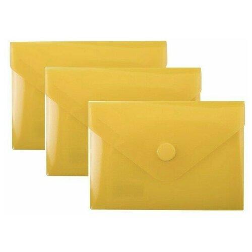 Папка-конверт с кнопкой МАЛОГО ФОРМАТА (74х105 мм), А7 (для дисконтных, банковских карт, визиток) прозр, желтая, 0,18 мм, BRAUBERG, 227324 (3 штуки) 227324-3