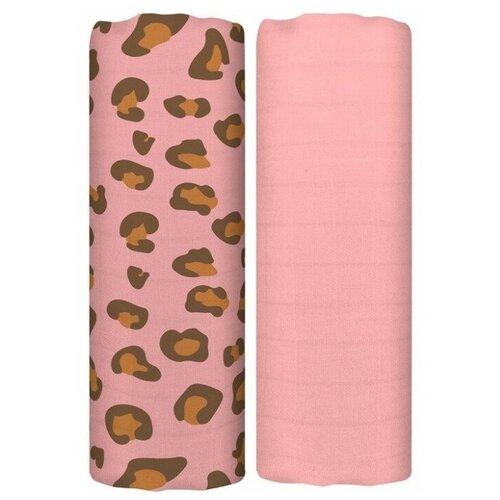 Купить Многоразовые пеленки Tommy Lise Leopard Set 70х70 2 шт. coral, Пеленки, клеенки