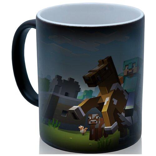 Кружка хамелеон Minecraft, Майнкрафт на коне, недорогой сувенир