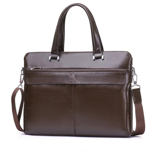 Сумка-портфель MyPads HA-009 из качественной импортной эко-кожи для ноутбука 15.6 дюймов мужская бизнес сумка большой емкости формат A4 темно-коричневого цвета