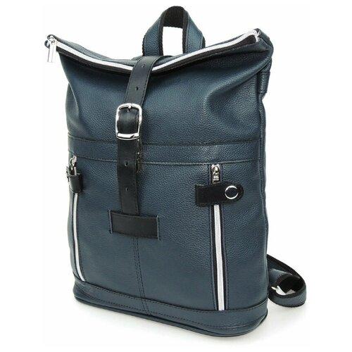 Синий городской кожаный рюкзак Natalia Kalinovskaya, «Ибби»