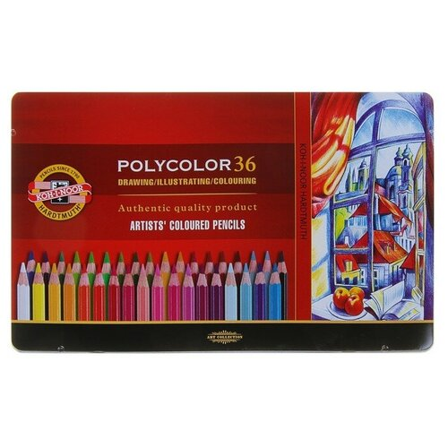 Карандаши художественные 36 цветов, Koh-I-Noor 3825 PolyColor, мягкие, в металлическом пенале