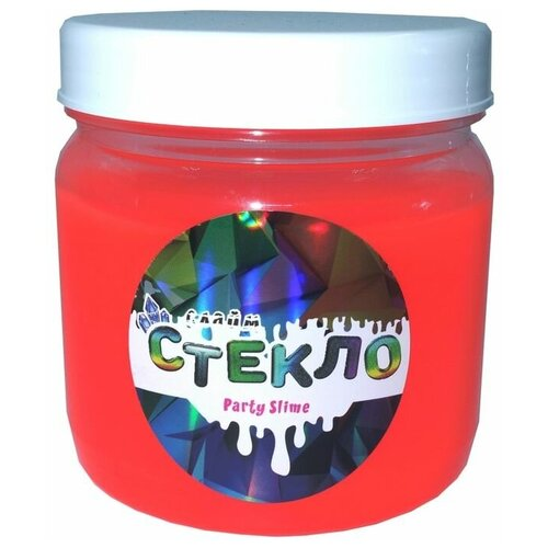 Слайм «Стекло» серия Party Slime, красный неон, 400 гр, Слайм Стекло