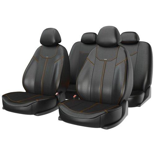 Универсальные чехлы на автомобильные сиденья CarFashion MUSTANG черный/черный/оранжевый