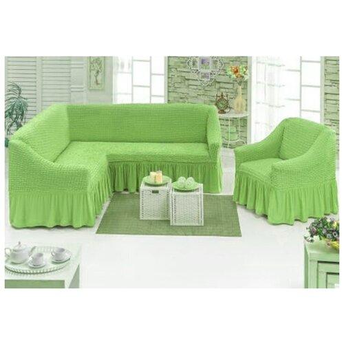Угловой Чехол на Диван+Кресло, светло-зеленый
