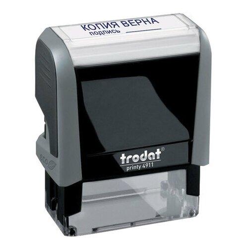 Фото - Штамп стандартный Trodat 4911P4-3.42. Копия верна, подпись, оттиск 38x14 мм, синий оттиск, серый корпус штамп trodat 4911p4 1 23 прямоугольный исх синий