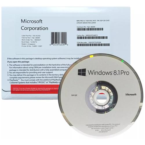 Microsoft Windows 8.1 Professional 64-bit OEM, лицензия и носитель, русский, устройств: 1, кол-во лицензий: 1, срок действия: бессрочная, DVD