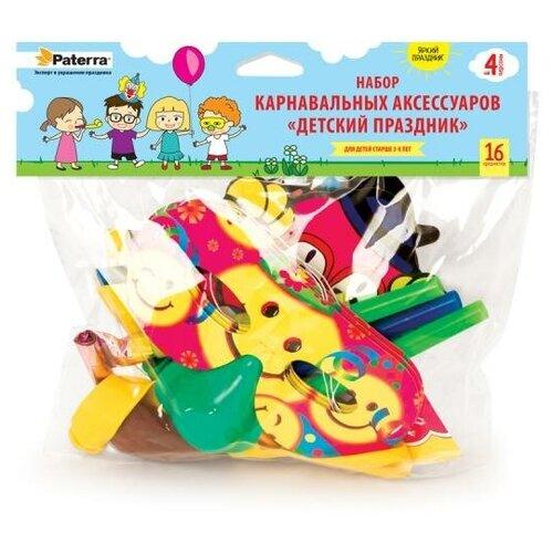 Набор карнавальных аксессуаров на 4 человека, 16 предметов в упаковке: 4 полумаски с носом, 4 колпака, 4 языка-гудка, 4 воздушных шарика, PATERRA (401-206)