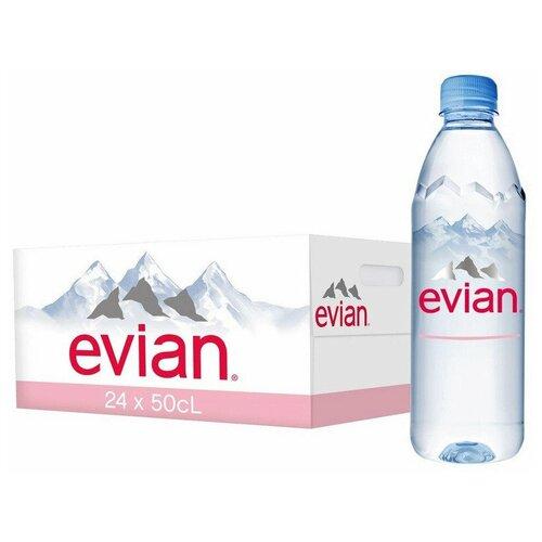 Evian вода минеральная природная столовая негазированная, 24 штук по 0,5 л
