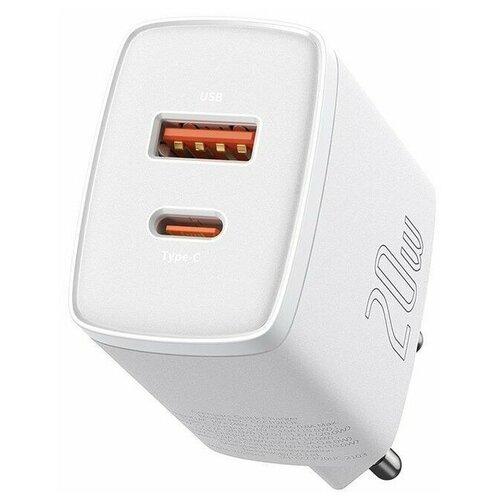 Фото - Зарядное устройство Baseus Compact Quick Charger 20W USB+Type-C, 3A, белый зарядное устройство baseus compact quick charger u c 20w eu black ccxj b01
