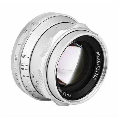 Фото - Объектив 7artisans 35mm F1.2 Sony E, серебряный объектив 7artisans 35mm f0 95 canon eos m mount