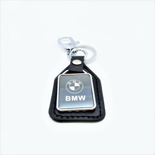 Брелок BMW чёрный, металл и кожа, логотип на подвеске