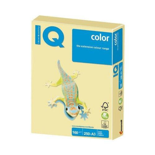 Бумага цветная IQ color большой формат (297х420 мм), А3, 160 г/м2, 250 л., пастель, желтая, YE23