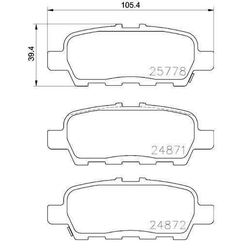 Дисковые тормозные колодки задние NISSHINBO PF2565 / NP2041 для Nissan, Suzuki, Infiniti, Mitsubishi, Renault (4 шт.)