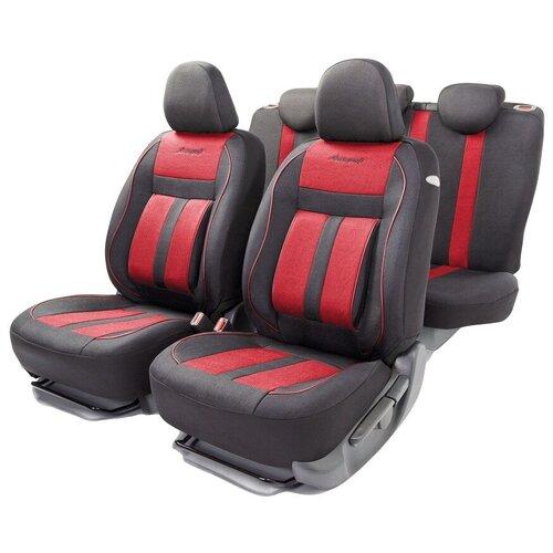 Авточехлы универсальные AUTOPROFI CUS-1505 BK/RD CUSHION COMFORT, эко-хлопок, 5 мм поролон, 3D крой, поясничный упор, 15 пред., чёрный/красный