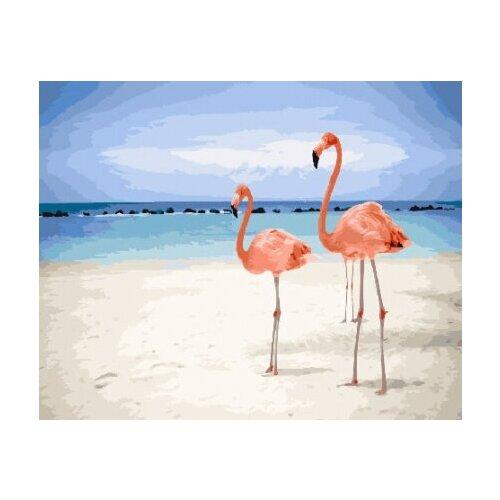 Картина по номерам Paintboy «Фламинго на пляже» (холст на подрамнике, 40х50 см) картина по номерам paintboy маленькая деревушка холст на подрамнике 40х50 см