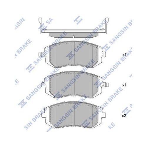 Дисковые тормозные колодки передние SANGSIN BRAKE SP1367 для Subaru Forester, Subaru Impreza, Subaru Legacy (4 шт.)
