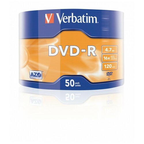 Диск DVD-R Verbatim 4.7 Gb, 16x, Shrink (50), Azo (50/600)