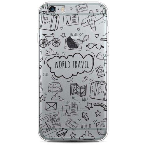 Силиконовый чехол World travel black на Apple iPhone 6/6S / Айфон 6/6S чехол mediagadget для apple iphone 6 6s black