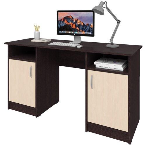 Фото - Письменный стол СитиМебель двухтумбовый, ШхГ: 140х50 см, цвет: венге цаво/дуб молочный письменный стол ситимебель компактный шхг 140х50 см цвет венге цаво