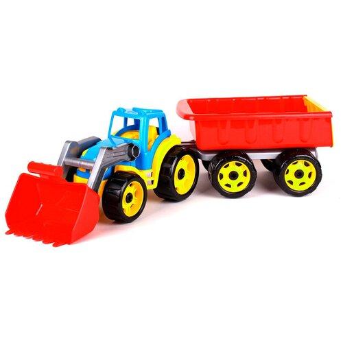 трактор с прицепом игрушка efko трактор с прицепом игрушка Синий трактор с прицепом 65 см технок экскаватор игрушка / трактор с ковшом
